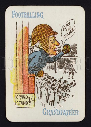 Footballing, Grandfather. Illustration for one of a set of Old Maid playing cards. Late 19th or early 20th century.