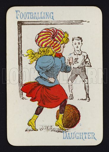 Footballing, Daughter. Illustration for one of a set of Old Maid playing cards. Late 19th or early 20th century.