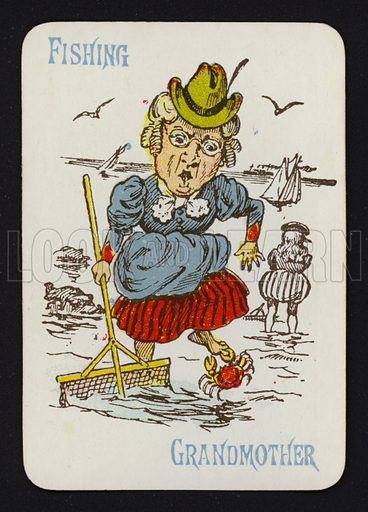 Fishing, Grandmother. Illustration for one of a set of Old Maid playing cards. Late 19th or early 20th century.