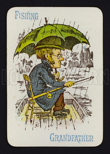 Fishing, Grandfather. Illustration for one of a set of Old Maid playing cards. Late 19th or early 20th century.