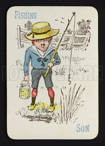 Fishing, Son. Illustration for one of a set of Old Maid playing cards. Late 19th or early 20th century.