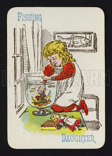 Fishing, Daughter. Illustration for one of a set of Old Maid playing cards. Late 19th or early 20th century.