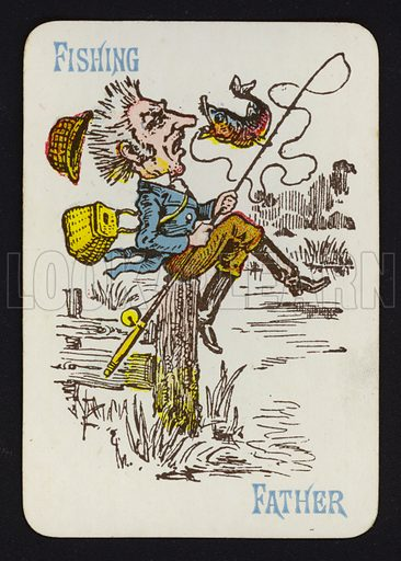 Fishing, Father. Illustration for one of a set of Old Maid playing cards. Late 19th or early 20th century.