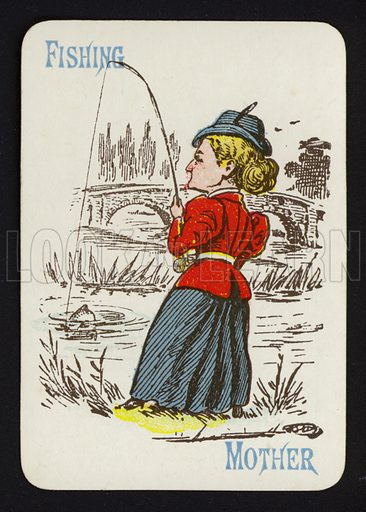 Fishing, Mother. Illustration for one of a set of Old Maid playing cards. Late 19th or early 20th century.