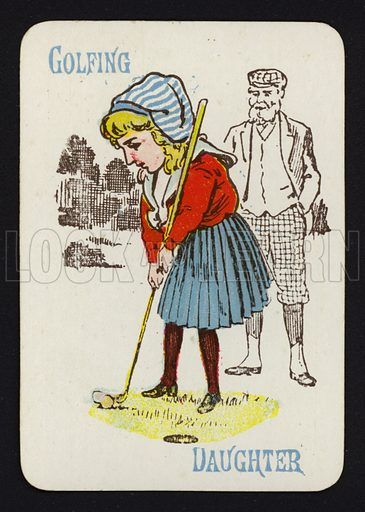 Golfing, Daughter. Illustration for one of a set of Old Maid playing cards. Late 19th or early 20th century.