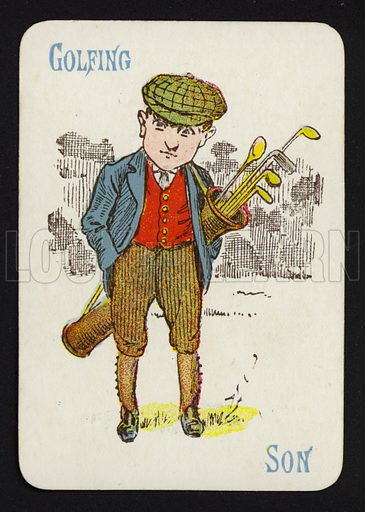 Golfing, Son. Illustration for one of a set of Old Maid playing cards. Late 19th or early 20th century.
