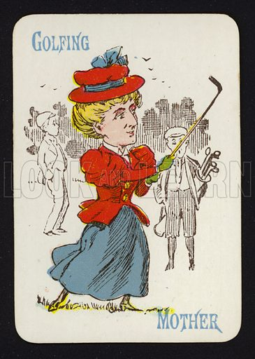 Golfing, Mother. Illustration for one of a set of Old Maid playing cards. Late 19th or early 20th century.
