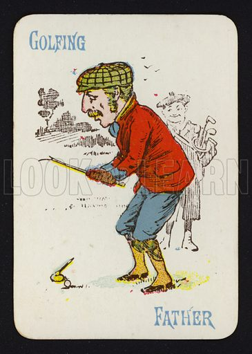 Golfing, Father. Illustration for one of a set of Old Maid playing cards. Late 19th or early 20th century.
