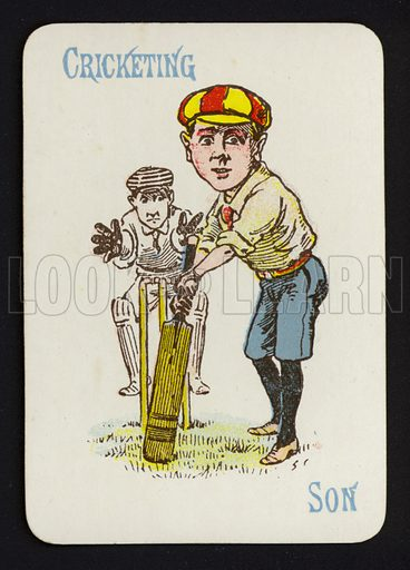 Cricketing, Son. Illustration for one of a set of Old Maid playing cards. Late 19th or early 20th century.