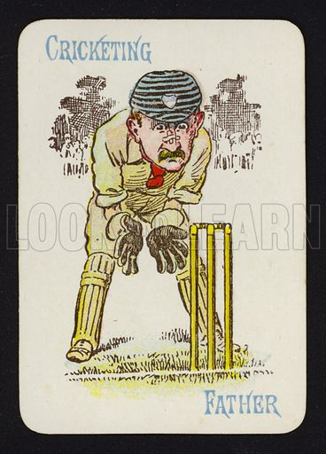 Cricketing, Father. Illustration for one of a set of Old Maid playing cards. Late 19th or early 20th century.