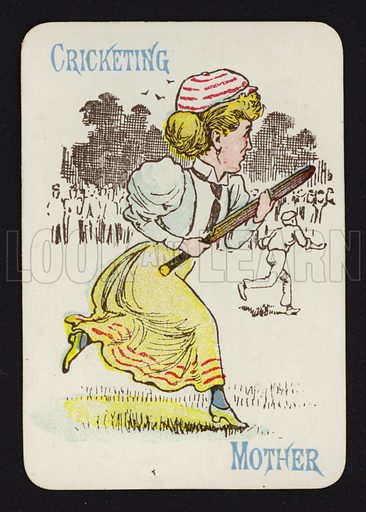 Cricketing, Mother. Illustration for one of a set of Old Maid playing cards. Late 19th or early 20th century.