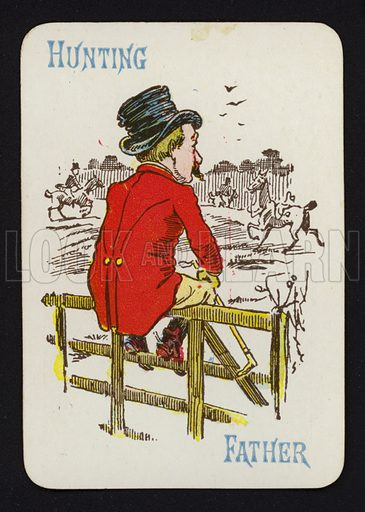 Hunting, Father. Illustration for one of a set of Old Maid playing cards. Late 19th or early 20th century.