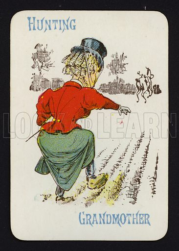 Hunting, Grandmother. Illustration for one of a set of Old Maid playing cards. Late 19th or early 20th century.