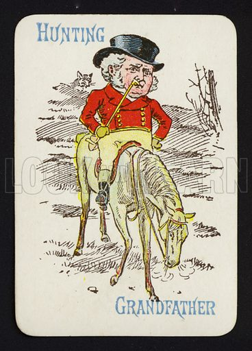 Hunting, Grandfather. Illustration for one of a set of Old Maid playing cards. Late 19th or early 20th century.
