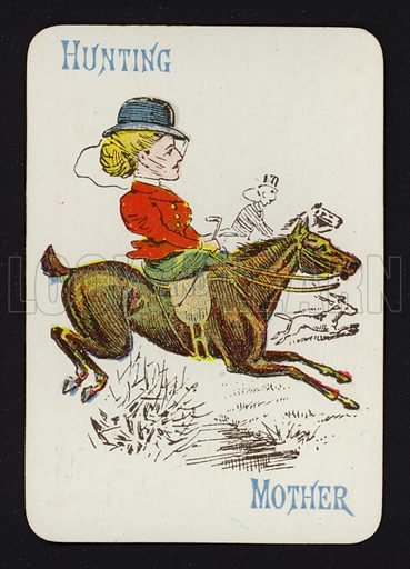 Hunting, Mother. Illustration for one of a set of Old Maid playing cards. Late 19th or early 20th century.