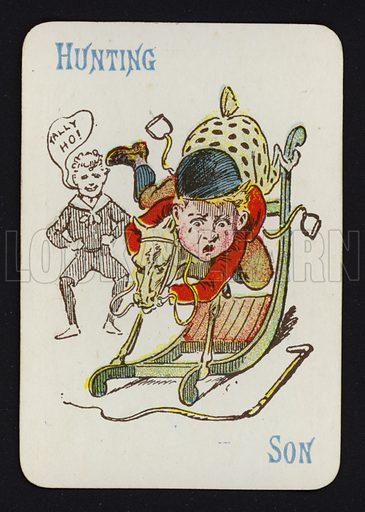 Hunting, Son. Illustration for one of a set of Old Maid playing cards. Late 19th or early 20th century.