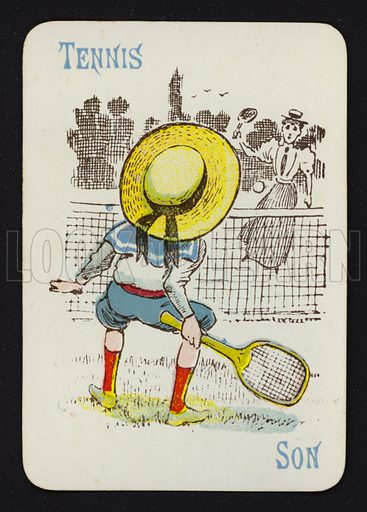 Tennis, Son. Illustration for one of a set of Old Maid playing cards. Late 19th or early 20th century.
