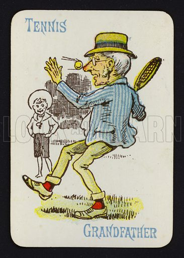 Tennis, Grandfather. Illustration for one of a set of Old Maid playing cards. Late 19th or early 20th century.