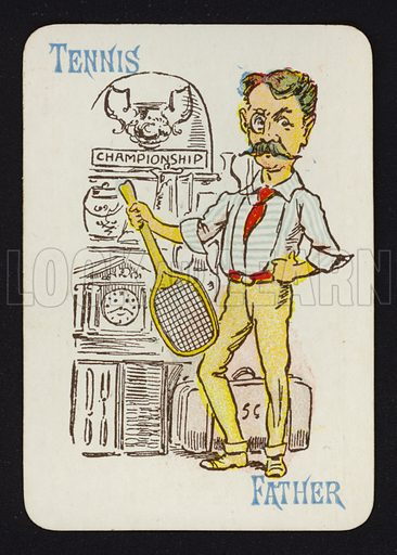 Tennis, Father. Illustration for one of a set of Old Maid playing cards. Late 19th or early 20th century.