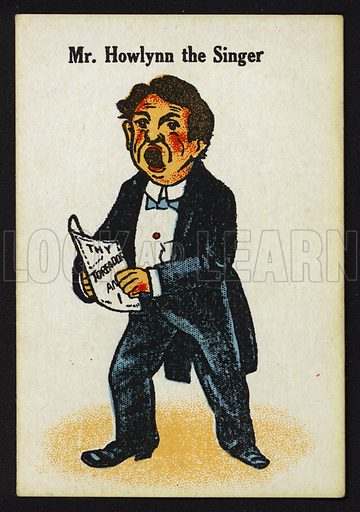 Mr Howlynn the Singer. Illustration for one of a set of Old Maid cards, published by Chad Valley, late 19th or early 20th century.
