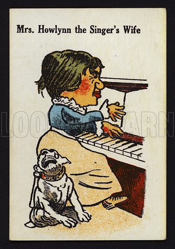 Mrs Howlynn the Singer's Wife. Illustration for one of a set of Old Maid cards, published by Chad Valley, late 19th or early 20th century.