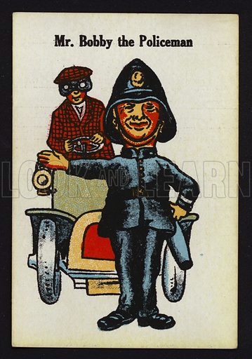 Mr Bobby the Policeman. Illustration for one of a set of Old Maid cards, published by Chad Valley, late 19th or early 20th century.