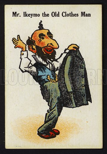 Mr Ikeymo the Old Clothes Man. Illustration for one of a set of Old Maid cards, published by Chad Valley, late 19th or early 20th century.