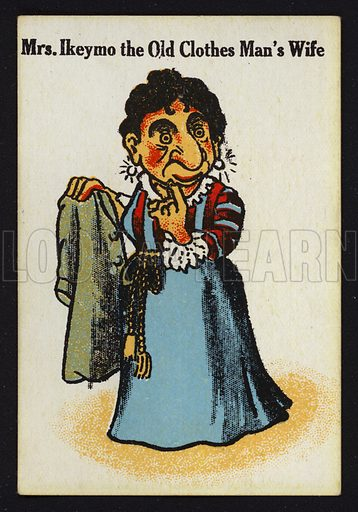Mrs Ikeymo the Old Clothes Man's Wife. Illustration for one of a set of Old Maid cards, published by Chad Valley, late 19th or early 20th century.