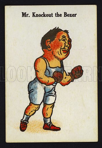 Mr Knockout the Boxer. Illustration for one of a set of Old Maid cards, published by Chad Valley, late 19th or early 20th century.