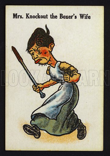 Mrs Knockout the Boxer's Wife. Illustration for one of a set of Old Maid cards, published by Chad Valley, late 19th or early 20th century.