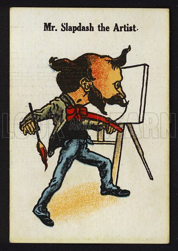Mr Slapdash the Artist. Illustration for one of a set of Old Maid cards, published by Chad Valley, late 19th or early 20th century.