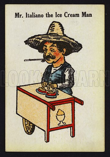 Mr Italiano the Ice Cream Man. Illustration for one of a set of Old Maid cards, published by Chad Valley, late 19th or early 20th century.