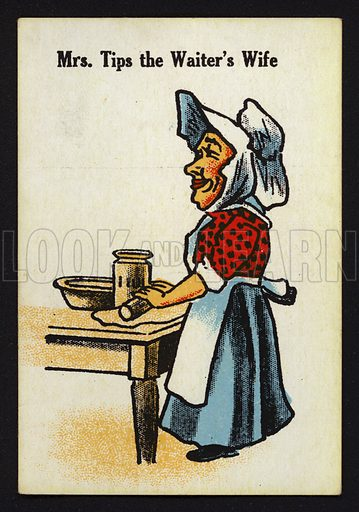 Mrs Tips the Waiter's Wife. Illustration for one of a set of Old Maid cards, published by Chad Valley, late 19th or early 20th century.