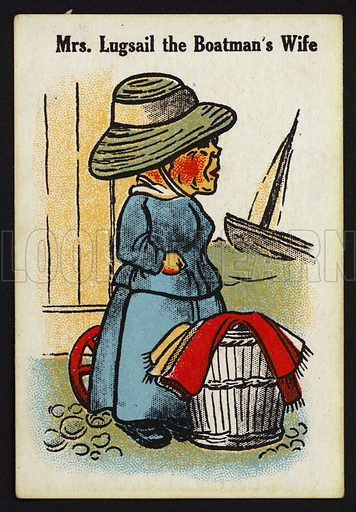 Mrs Lugsail the Boatman's Wife. Illustration for one of a set of Old Maid cards, published by Chad Valley, late 19th or early 20th century.