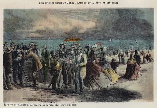 The bathing beach at Coney Island in 1869. Illustration for Valentine's Manual of Old New York, No 5, New Series, 1921.