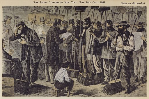 The Street Cleaners of New York, The Roll Call, 1868. Illustration for Valentine's Manual of Old New York, No 5, New Series, 1921.