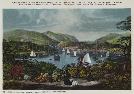 One of the earliest and most beautiful pictures of West Point. Illustration for Valentine's Manual of Old New York, No 5, New Series, 1921.