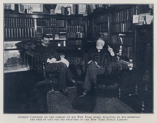 Andrew Carnegie, in the library of his New York home, dictating to his secretary the deed of gift for the branches of the New York Public Library. Illustration for Valentine's Manual of Old New York, No 5, New Series, 1921.