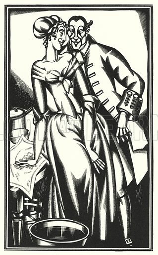 The map is carried down to the kitchen. Illustration for The Life and Opinions of Tristram Shandy Gentleman by Laurence Sterne with illustrations and decorations by John Austen (John Lane The Bodley Head, 1928).