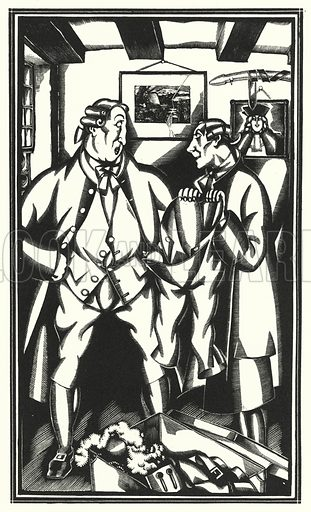 My uncle Toby in love. Illustration for The Life and Opinions of Tristram Shandy Gentleman by Laurence Sterne with illustrations and decorations by John Austen (John Lane The Bodley Head, 1928).