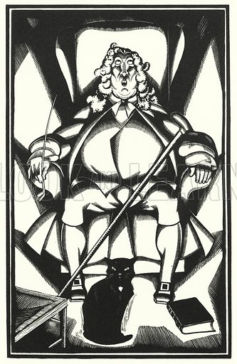 Lillibularo. Illustration for The Life and Opinions of Tristram Shandy Gentleman by Laurence Sterne with illustrations and decorations by John Austen (John Lane The Bodley Head, 1928).