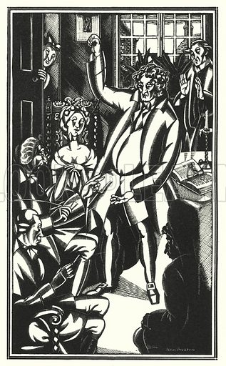 A spirited epiphonema, raised a third, and sometimes a full fifth, above the key of the discourse. Illustration for The Life and Opinions of Tristram Shandy Gentleman by Laurence Sterne with illustrations and decorations by John Austen (John Lane The Bodley Head, 1928).