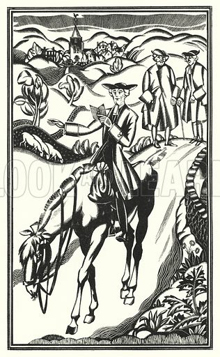 The horse was as good as the rider deserved. Illustration for The Life and Opinions of Tristram Shandy Gentleman by Laurence Sterne with illustrations and decorations by John Austen (John Lane The Bodley Head, 1928).