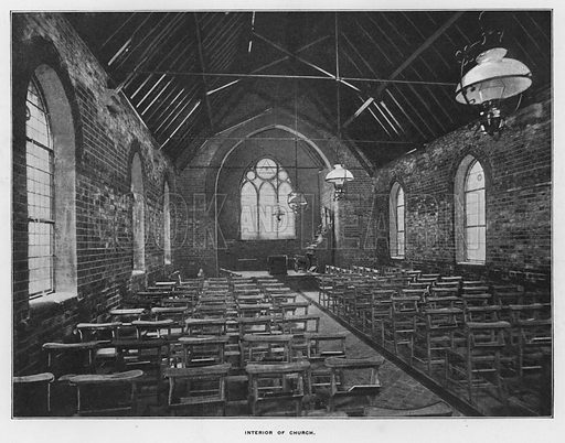 Interior of church. Illustration for Orchards and Gardens Ancient and Modern, with a description of the Orchards, Gardens, Model Farms and Factories owned by Mr William Whiteley, of Westbourne Grove, London, by Alfred Barnard (London, 1895).