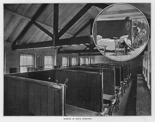 Interior of men's dormitory. Illustration for Orchards and Gardens Ancient and Modern, with a description of the Orchards, Gardens, Model Farms and Factories owned by Mr William Whiteley, of Westbourne Grove, London, by Alfred Barnard (London, 1895).