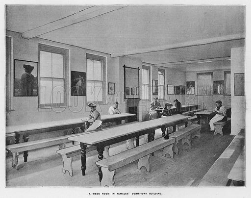 A mess room in females' dormitory building. Illustration for Orchards and Gardens Ancient and Modern, with a description of the Orchards, Gardens, Model Farms and Factories owned by Mr William Whiteley, of Westbourne Grove, London, by Alfred Barnard (London, 1895).