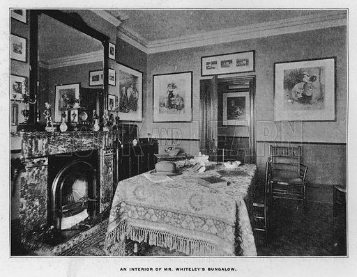An interior of Mr Whiteley's bungalow. Illustration for Orchards and Gardens Ancient and Modern, with a description of the Orchards, Gardens, Model Farms and Factories owned by Mr William Whiteley, of Westbourne Grove, London, by Alfred Barnard (London, 1895).