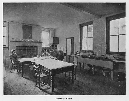 A dormitory kitchen. Illustration for Orchards and Gardens Ancient and Modern, with a description of the Orchards, Gardens, Model Farms and Factories owned by Mr William Whiteley, of Westbourne Grove, London, by Alfred Barnard (London, 1895).