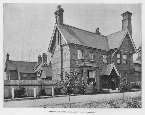 Factory manager's house, Butts Farm, Hanworth. Illustration for Orchards and Gardens Ancient and Modern, with a description of the Orchards, Gardens, Model Farms and Factories owned by Mr William Whiteley, of Westbourne Grove, London, by Alfred Barnard (London, 1895).
