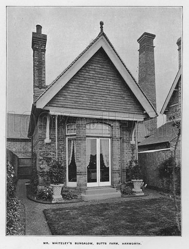 Mr Whiteley's bungalow, Butts Farm, Hanworth. Illustration for Orchards and Gardens Ancient and Modern, with a description of the Orchards, Gardens, Model Farms and Factories owned by Mr William Whiteley, of Westbourne Grove, London, by Alfred Barnard (London, 1895).